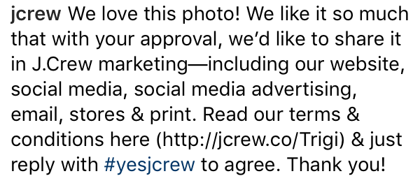 JCrew approval example - Best practices for reposting user-generated content