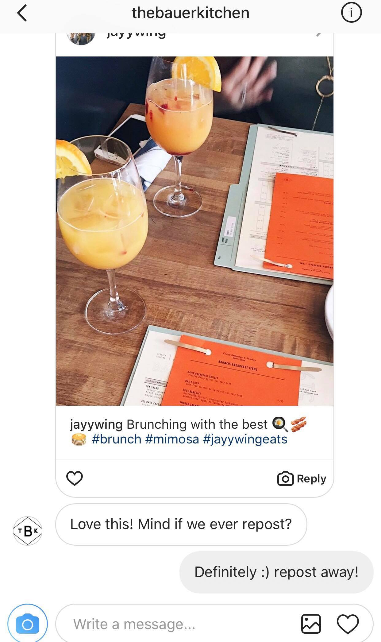 Bauer Kitchen Instagram repost request Best practices for reposting user-generated content